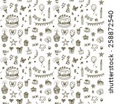 happy birthday seamless hand...   Shutterstock .eps vector #258872540