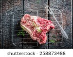 Red meat with rosemary and pepper ready for grilling - stock photo