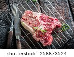 Fresh piece of beef with herbs - stock photo