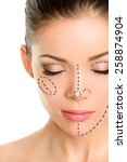 plastic surgery lines on asian... | Shutterstock . vector #258874904