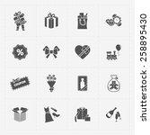 gift flat black shop icon set... | Shutterstock . vector #258895430