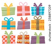 set of icons of gift boxes | Shutterstock .eps vector #258897209
