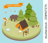 isometric 3d forest camping... | Shutterstock .eps vector #258907274