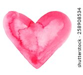watercolor red heart icon with... | Shutterstock .eps vector #258908534