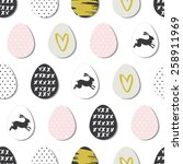 seamless pattern with easter... | Shutterstock .eps vector #258911969