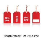 shiny red sale tags with 10 off ... | Shutterstock .eps vector #258916190