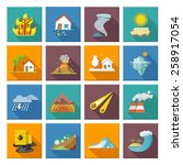 natural disaster icons set with ... | Shutterstock .eps vector #258917054