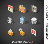 flat isometric icons set 5 | Shutterstock .eps vector #258917714