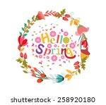 hello spring with flower and... | Shutterstock .eps vector #258920180