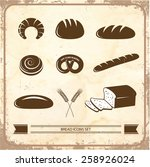bread icon set on a vintage... | Shutterstock .eps vector #258926024
