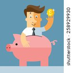 businessman in piggy bank. flat ... | Shutterstock .eps vector #258929930