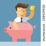 businessman in piggy bank. flat ... | Shutterstock .eps vector #258929930