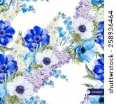 watercolor  vector  flowers ... | Shutterstock .eps vector #258936464