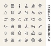 set of 36 icons for medical... | Shutterstock .eps vector #258945593