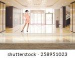 desk in interior and woman  | Shutterstock . vector #258951023