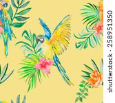 macaw seamless pattern. palm... | Shutterstock . vector #258951350