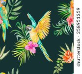macaw seamless pattern. palm... | Shutterstock . vector #258951359