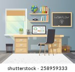 workplace in sunny room.... | Shutterstock .eps vector #258959333