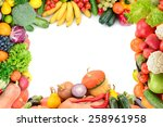 Frame Of Vegetables And Fruits...