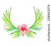 palm wreath watercolor.palm... | Shutterstock . vector #258963374