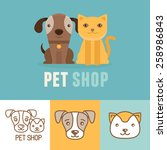 Stock vector vector dog and cat icons and logos friendly pets pet shop design template 258986843