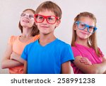 group of funny cute kids with... | Shutterstock . vector #258991238
