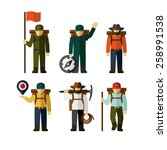hiker backpack traveler vector... | Shutterstock .eps vector #258991538
