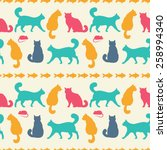 seamless pattern with cats  ... | Shutterstock .eps vector #258994340