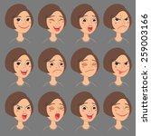 cartoon style caucasian girl's... | Shutterstock .eps vector #259003166