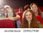 young friends watching a film... | Shutterstock . vector #259017938