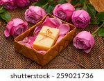 Pink Rose And Petals With Soap...