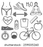 healthy lifestyle vector icons | Shutterstock .eps vector #259035260