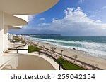 beach of mediterranean sea at... | Shutterstock . vector #259042154