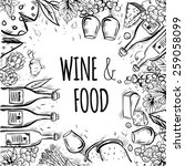 wine and food vector background.... | Shutterstock .eps vector #259058099