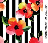 bright watercolor flowers and...   Shutterstock .eps vector #259063604