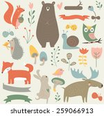 forest animals in vector set.... | Shutterstock .eps vector #259066913