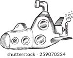 doodle sketch submarine vector... | Shutterstock .eps vector #259070234