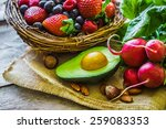 fruits and vegetables on rustic ... | Shutterstock . vector #259083353