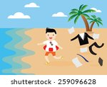 businessman undress his suit... | Shutterstock .eps vector #259096628