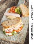 sandwich with lettuce  tomato ... | Shutterstock . vector #259097594