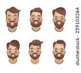 six bearded cartoon faces | Shutterstock .eps vector #259103264