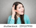 young woman trying to listen... | Shutterstock . vector #259107950