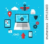 data protection and vpn concept ... | Shutterstock .eps vector #259115603