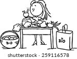 a woman stands at the table and ... | Shutterstock .eps vector #259116578