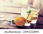 lemonade with fresh lemon on... | Shutterstock . vector #259121894