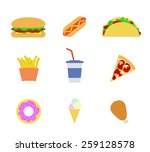 fast food icons. vector