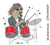 hand drawn illustration of horse drummer, music poster