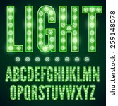 Green Neon Alphabet Font With...