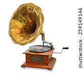 Retro Old Gramophone Isolated...