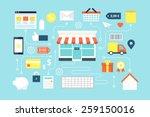 online shopping  e marketing  e ... | Shutterstock .eps vector #259150016